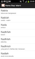 Screenshot of Nama Bayi Islami