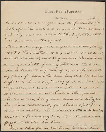 First page, Nicolay Draft, Courtesy of Library of Congress