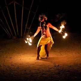 Tahitian Dancer by Brian Cruickshank - People Musicians & Entertainers ( dance;tahiti;south pacific;, moorea;fire )