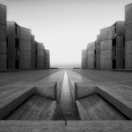 Open Ended by Benjamin Laga - Buildings & Architecture Office Buildings & Hotels ( water, b/w, institute, diego, building, san, wood, salk, fountain, pacific, sunrise, concrete )