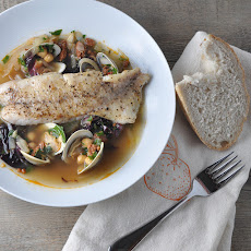Butter-Basted Sea Bass and Clams in Chickpea Broth