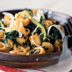 Whole-Wheat Pasta Shells with Spicy Tomato Pesto and Winter Greens