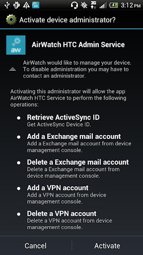 AirWatch HTC Service
