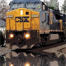 Cool train  by Brock Willis - Transportation Trains ( love, cool, fortville, train, yellow, tracks, town, like )