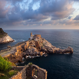 Portovenere, Italy by Tomas Vocelka - Landscapes Travel ( clouds, church, liguria, cliff, sea, san pietro, tourism, view, italy, portovenere, golden hour )