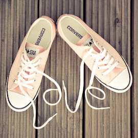 love by Samantha Bearman - Artistic Objects Clothing & Accessories ( love, baseball, converse, sneakers, running )