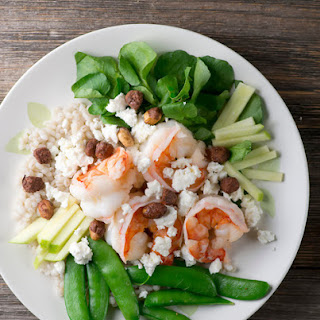 Shrimp with Watercress, Feta and Sugar Snap Peas