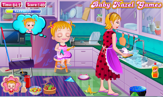 Screenshot of Baby Hazel Cleaning Time
