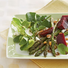 Spring Salad of Roasted Asparagus, Goat Cheese, and Toasted Pine Nuts
