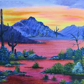 desert sunset by Leslie Collins - Painting All Painting ( mountains, desert, sunset, cactus )