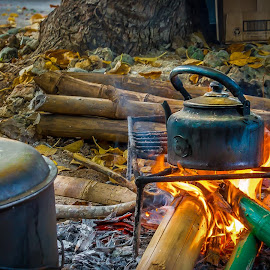 Lunch Time by Nick Foster - Food & Drink Cooking & Baking ( stove, bamboo, kettle, rice, camping, food, coffee, pots, campfire, fire, pan, island )