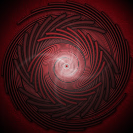 spiro by Dietmar Kuhn - Illustration Abstract & Patterns ( abstract, red, spiral, symmetry, central )