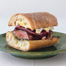 Grilled Skirt Steak and Pepper Sandwiches with Corn Mayonnaise