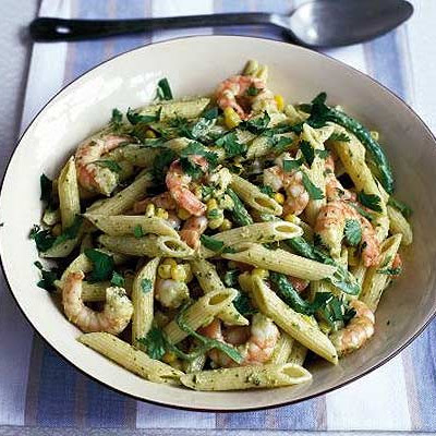 Prawn, Sweetcorn & Runner Bean Pasta