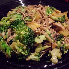 Two Broccoli Stir-Fry on Soba Noodles