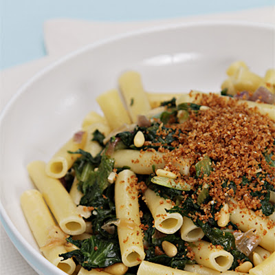 Ziti with Spicy Chicory and Toasted Parmesan Breadcrumbs