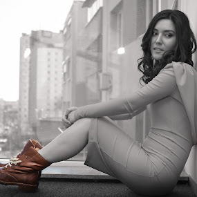 Brown boots by Costi Manolache - People Fashion ( fotoevent88, urban landscapes, woman, brown, boots,  )