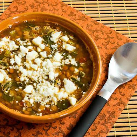 Slow Cooker Vegetarian Greek Lentil Soup with Tomatoes, Spinach, and Feta