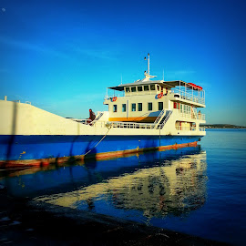 Pounta-Antiparos by Eva Ba - Instagram & Mobile Android ( reflection, paros, blue, antiparos, greece, summer, sea, boat )