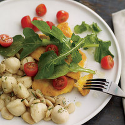 Chicken Cutlets Milanese with Butter Beans and Gnocchi