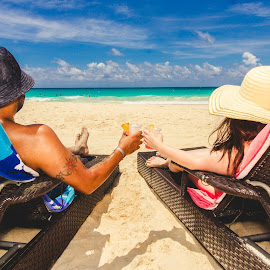 Mixed Drinks, Cool Breeze. by Aquiles Torres - People Couples ( republic, sand, traveling, pool, dominican, beach, travel, trip, dominican republic )