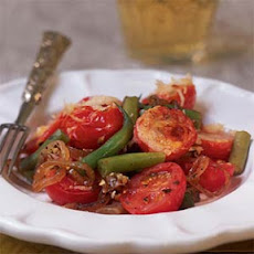 Caramelized Onion, Green Bean, and Cherry Tomato Tian