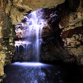 Smoo Cave by Ruaridh Nicol - Landscapes Caves & Formations ( water, waterfall, dark, rock, cave, light )