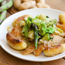 Lemon-Thyme Turkey Cutlets with New Jersey Asparagus, Brussels Sprouts & Crispy Fingerlings