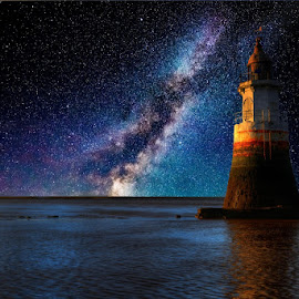 Lighting up the Milky Way by Steve Bampton - Digital Art Places ( fantasy, stars, lighthouse, seascape, landscape, night shot, night sky, milky way,  )