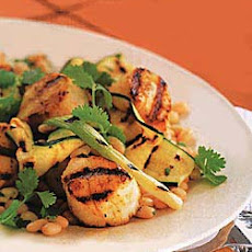 Grilled Scallops, Zucchini, and Scallions with White Beans