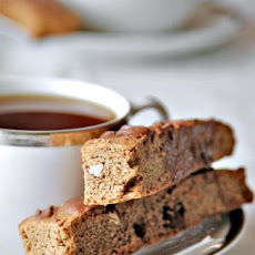 Mocha Almond Biscotti With Chocolate Drizzle