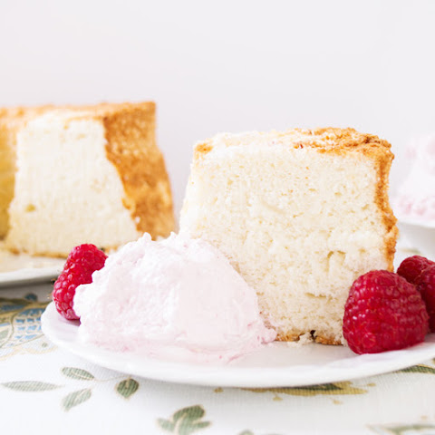 Angel Food Cake with Raspberry Whipped Cream