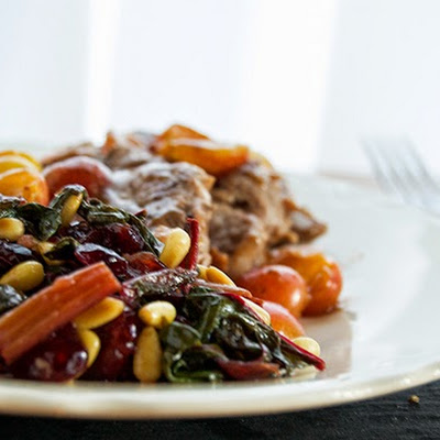 Sautéed Swiss Chard with Craisins & Pine Nuts