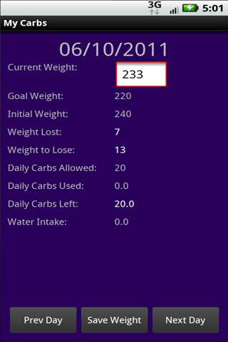 MyCarbs personal carb counter