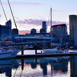 Veiw from Docklands by Donald Cain - City,  Street & Park  Skylines