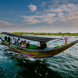 The Boatride by Sanjoy Sengupta - Transportation Boats ( boatride, pha naga bay, thailand, tokina 11-16mm, phuket, nikon d7000 )