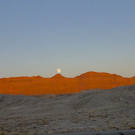 Sunset Moonrise in the desert by Mac Doc - Landscapes Deserts