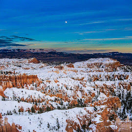 Bryce Moonrise by Gregory Ruderman - Landscapes Caves & Formations ( moon, utah, bryce, canyon, moonrise )