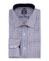 English Laundry Two-Tone Gingham Check Dress Shirt, Red/Blue - (15 1/2 32)