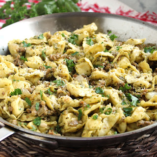 Skillet Tortellini with Sausage and Pesto