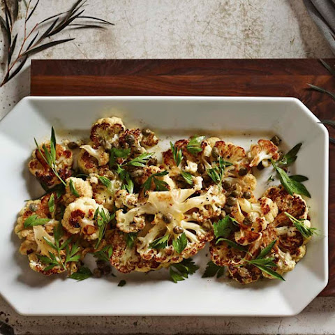 Cauliflower Steaks with Brown Butter, Capers and Parsley