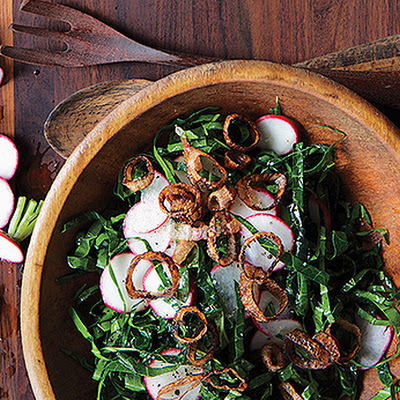 Collard Green and Radish Slaw with Crispy Shallots