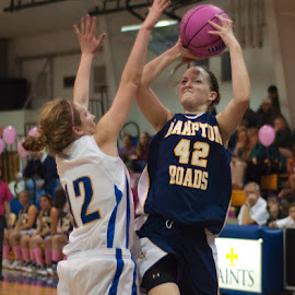 Playing for Cancer by Brian Killough - Sports & Fitness Basketball ( basketball, shooter, girls basketball, pink, cancer, hra )