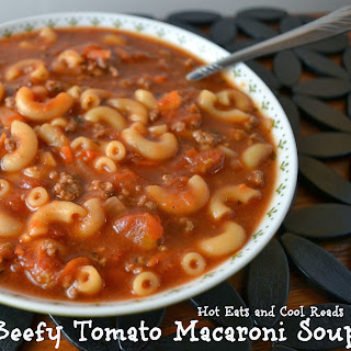 Beefy Tomato Macaroni Soup Recipe with a Review for Pomi Tomatoes!