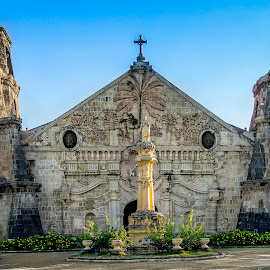 Miagao Church by Nick Foster - Buildings & Architecture Places of Worship ( priest, spanish, vineyard, church, vintage, colors, old town, stone, tourism, people, market, miagao church, town )