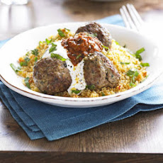 Moroccan Lamb Meatballs With Harissa & Couscous
