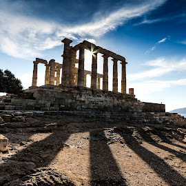 The temple of Poseidon by Bouras Panagiotis - Buildings & Architecture Public & Historical ( temple, sky, blue, greece, sun, poseidon )