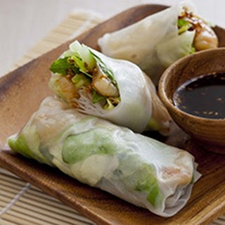 Fresh Shrimp Spring Rolls With Wasabi Teriyaki