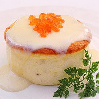 Souffled Sole Creams with Champagne Sauce and Salmon Caviar
