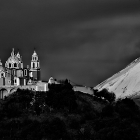 church and Popocatepetl by Cristobal Garciaferro Rubio - Black & White Landscapes ( cholula, volcano, church, mexico, puebla, snowy volcano )